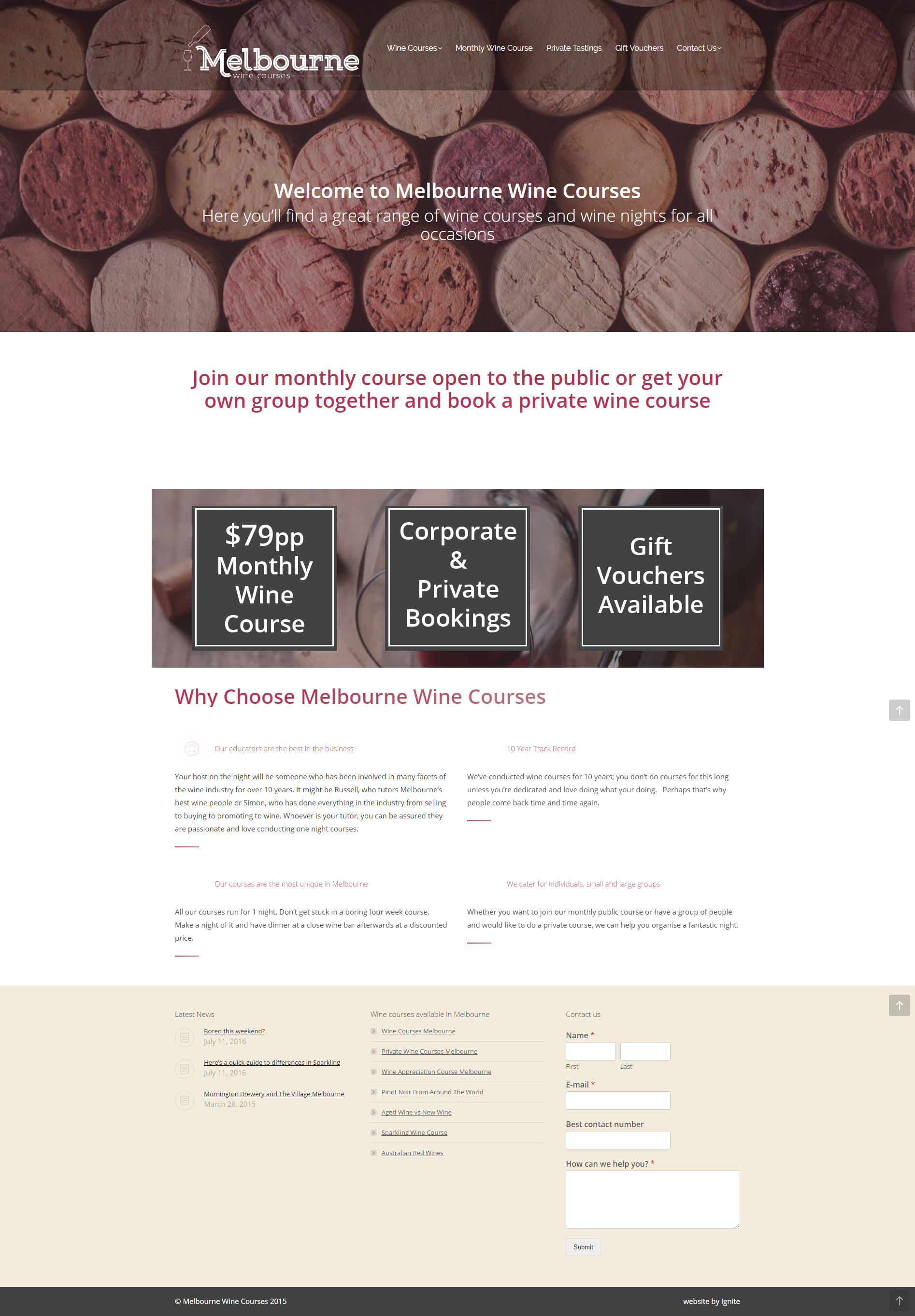 Website Design – Melbourne Wine Courses